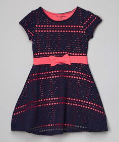 Another great find on #zulily! Navy Dot Bow Dress - Toddler & Girls by Sweet Vintage #zulilyfinds