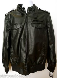 44bddc988f65 Guess Motorcycle Jacket Black faux leather mens coat military S M L XL NWT