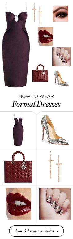 """Formal Christmas party"" by teal125 on Polyvore featuring Charlotte Tilbury, Zimmermann, Christian Louboutin, Christian Dior and LJ Cross"