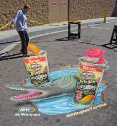 3D interactive chalk art for Pringles new Tortilla chips at Walmart in Clermont, Florida by www.AmazingStreetPainting.com #pringles #walmart #3dchalk #3dchalkart #streetpainting #3dstreetpainting #florida #chips
