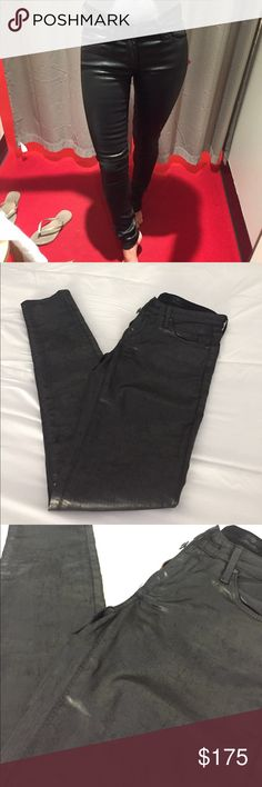 """AG Super skinny coated faux leather skinny jeans Brand-new with tags. Faux leather coated super skinny legging. Real pockets. Inseam is 31"""" . 7"""" rise. Black. Size 24 AG Adriano Goldschmied Jeans"""