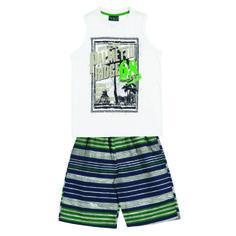 "Conj. Camiseta Regata½ Malha - Bermuda Listrada c/ Bolso Traseiro Estampa ""PALMETTO RIDGE"" Tamanhos: 04 ao 16"