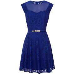 OASIS Savannah Lace Skater Dress (92 BRL) ❤ liked on Polyvore featuring dresses, vestidos, short dresses, blue, blue dresses, floral lace dress, blue lace dress, skater dress and short blue dress