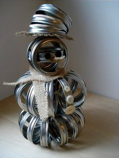Upcycled Mason Canning Jar Lid Band Snowman by MyWhimsicalLily, $39.00