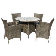 Savannah 4 Seat Round Dining Set. Ceramic and Weave Outdoor Furniture Dining Set
