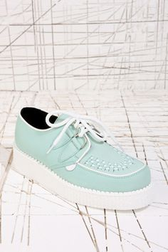Underground Shoes Mint & White Creepers at Urban Outfitters (£89.00) - Svpply