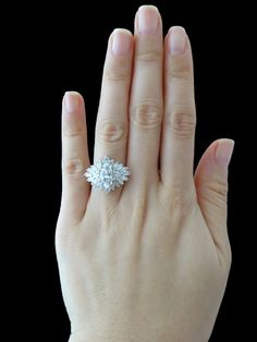 Stunning 2.5 carat Marquise Engagement, Baguette, Triangle, Round Cut Accented Ring, Man Made Diamonds, Wedding, Bridal, Sterling Silver
