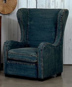 Denim Levittown Wingback Chair