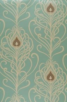 Art Nouveau Wallpaper with Peacock Feather Motif Motifs Art Nouveau, Design Art Nouveau, Art Nouveau Pattern, Art Design, Textile Design, Peacock Wallpaper, Fabric Wallpaper, Of Wallpaper, Pattern Wallpaper