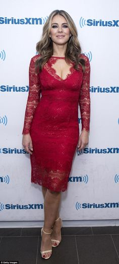 Stunner:Elizabeth Hurley, 52, was spotted in a lace gown that left little to the imagination in New York on Tuesday