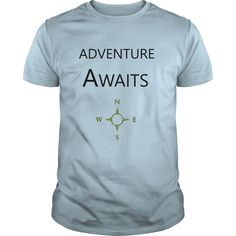Adventure Awaits T Shirts, Hoodies. Check price ==► https://www.sunfrog.com/Outdoor/Adventure-Awaits-Light-Blue-Guys.html?41382 $19