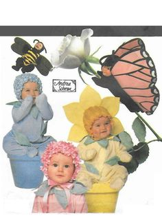 BABY and TODDLER COSTUME Sewing Pattern - 1997 Simplicity 7868, Sizes 1/2, 1, 2, 3 - Bumble Bee, Butterfly, Flowers - Very Gently Used by KeepsakesStudio on Etsy