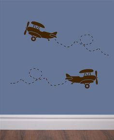 Set of 6 vinyl wall decals - Retro airplane with trail - perfect for bedroom, nursery, play room