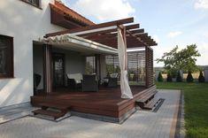 Pergola With Retractable Canopy Code: 3317871440 Pergola Lighting, House With Balcony, Outdoor Living Design, Terrace Design, Pergola Plans, Outdoor Design