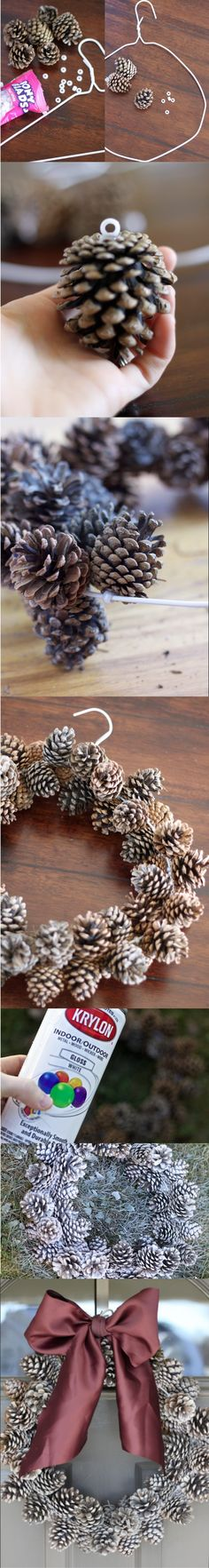 Here's how to make a wonderful Christmas time super easy with candy and fine needles. Winter Christmas, All Things Christmas, Christmas Holidays, Christmas Wreaths, Christmas Ornaments, Pine Cone Crafts, Christmas Projects, Holiday Crafts, Diy Hanger