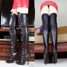 New Women Boots Natural Latex Over-the-knee Women's Boots Sexy Pointed Toe Lacing Ultra High Heels Boots Genuine Leather Boots Leather High Heel Boots, Thigh High Boots, Heeled Boots, Sexy Latex, Faith Boots, Sexy Stiefel, Sexy Boots, Women's Boots, Lovely Legs
