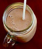 healthy shake:  --2 spoonfuls of peanut butter --a spoonful of cocoa powder --a spoonful of coconut oil --1 frozen banana --vanilla yogurt