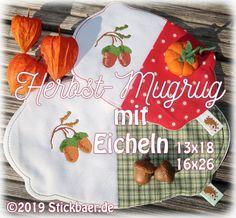 Der Stickbär | Herbst-Mugrug mit Eicheln | Stickmuster mit Herz