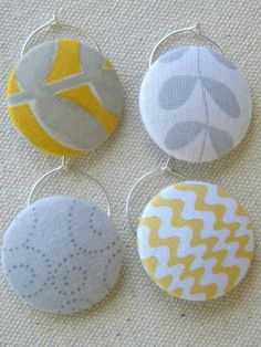 Wine glass charms - idea - button charms.