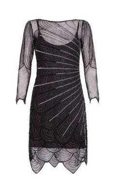 e4f6efc5c7ee Catherine Vintage Inspired Flapper Dress in Black Silver by Gatsbylady  London