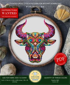 This is modern cross-stitch pattern of Mandala Bull for instant download. You will get 7-pages PDF file, which includes: - main picture for your reference; - colorful scheme for cross-stitch; - list of DMC thread colors (instruction and key section); - list of calculated thread