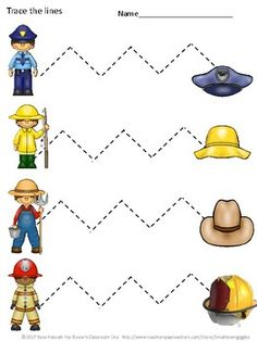 Community Helpers Worksheets Tracing Lines Distance Learning Packet Kindergarten : Fine Motor Skills Tracing Activities Community Helpers Special Education Community Helpers Kindergarten, Community Helpers Activities, Special Education Activities, Motor Skills Activities, Special Education Classroom, Community Helpers Art, Autism Classroom, Classroom Setup, Kids Education