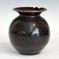 Vintage Studio Art Pottery Aubergine Flambe Glaze Vase Signed