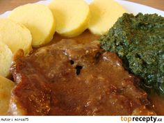 Palak Paneer, Mashed Potatoes, Steak, Food And Drink, Treats, Cooking, Ethnic Recipes, Meat, Rezepte