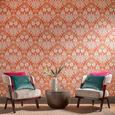 Imperial Orange Chinoiserie Wallpaper Graham and Brown Accent Wallpaper, Kitchen Wallpaper, Green Wallpaper, Wall Wallpaper, Leaves Wallpaper, Wallpaper Ideas, Chinoiserie Wallpaper, Damask Wallpaper, Orange Tapete