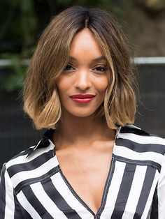 TOUSLED BOB For soft, touchable waves like Jourdan Dunn's, prep the hair with volumizing spray (we love Phyto Phytovolume Actif Volumizer Spray) and blow-dry it with a paddle brush. Part your hair in the center and, starting from the midlength, wrap two-inch sections around a one-inch curling rod (if you don't have one, just leave the clamp on your regular curling iron closed). Shake out the waves with your fingers and finish with hair spray (like L'Oréal Paris Elnett Satin Hairspray).