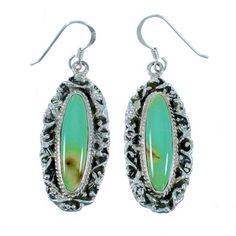 Turquoise Silver Southwestern Jewelry Hook Dangle Earrings