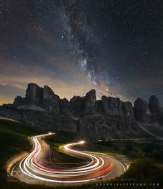 Light trails under the stars by Guerrini Stefano by guerrinistefano