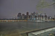Hurricane Sandy flooding Brooklyn Bridge Park.You can see lower Manhattan is experiencing a blackout.     frankenstorm sandy
