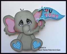 Elephant Love You Premade Paper Piecing Die Cut for Scrapbook Page byBabs