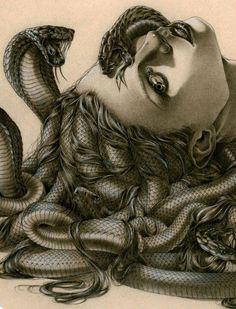 """the-wind-calls-your-name: """"crimson-tearz: """" Medusa by Zoe-Lacchei """" Medusa Kunst, Medusa Art, Medusa Gorgon, Medusa Drawing, Art Et Design, Turn To Stone, Snake Art, Tattoo Und Piercing, Desenho Tattoo"""
