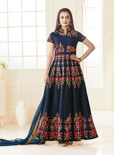 Dia Mirza Navy Blue Silk Embroidery Work Long Anarkali Suit 91262