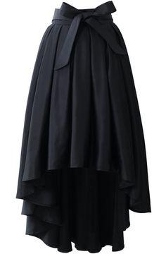 Black Bow High Low Pleated Skirt zł101.30