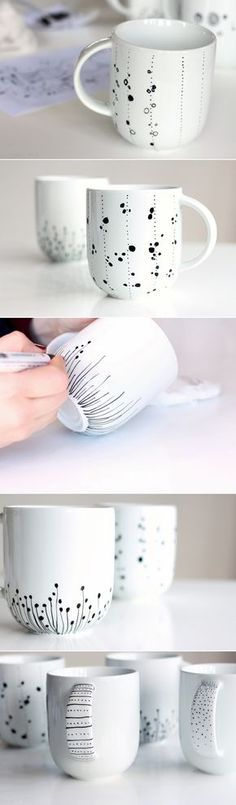Screen Ceramics cups painting Concepts Tassen bemalen Good Screen Ceramics cups painting Concepts Tassen bemalen 25 Trendy Painting Diy Ideas Sharpie Mugs dishwasher safe painted dishes // Delia Creates Poppytalk: DIY Marker Crafts, Sharpie Crafts, Sharpie Art, Sharpies, Sharpie Mug Designs, Diy Mug Designs, Sharpie Markers, Diy Becher, Fun Crafts