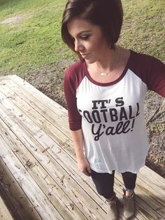 Baseball Tee with It's Football Yall detail