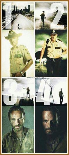 Rick Grimes through The Walking Dead seasons
