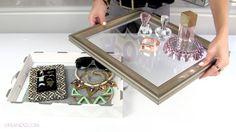 DIY Jewelry Box Holder & DIY Vanity Tray. I love this idea so much! It's so cute!