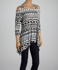 Look at this White & Black Tribal Off-Shoulder Sidetail Tunic - Women & Plus on #zulily today!