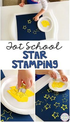 Tot School: Space Star stamping with cookie cutters is a simple fine motor activity that is perfect for a space theme in tot school preschool or the kindergarten classroom. The post Tot School: Space appeared first on School Diy. Toddler Art, Toddler Crafts, Preschool Crafts, Preschool Camping Theme, Camping Theme Crafts, Planets Preschool, Space Theme Preschool, Toddler Preschool, Kids Crafts