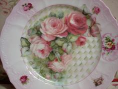 Hand Painted China Plate with Shabby Roses by Urbantownie on Etsy