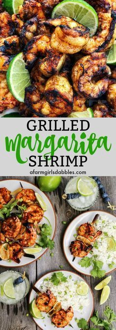 Grilled Margarita Shrimp from afarmgirlsdabbles.com - Grilled Margarita Shrimp are loaded with flavor and charred to perfection Grilled Food, Grilled Shrimp Tacos, Bbq Shrimp Skewers, Easy Grilled Shrimp Recipes, Grilled Garlic Shrimp, Shrimp Meals, Grilled Scallops, Shrimp Dishes, Honey Shrimp