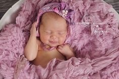 Newborn Starter Hat Purple Pink Silk Bonnet by PutABonnetOnIt