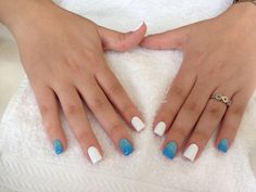 Degraded ombre nailart   nails white and blue!