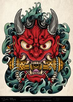 Japanese 'ONI' mask tattoo I designed as a stomach tattoo for client of tattooist Shaun Loyer. Interesting that these old masks are now how a lot if other cultures see's the 'devil' Oni Tattoo, Yakuza Style Tattoo, Raijin Tattoo, Hanya Tattoo, Devil Tattoo, Japanese Demon Tattoo, Japanese Sleeve Tattoos, Japanese Tattoo Designs, Japanese Demon Mask