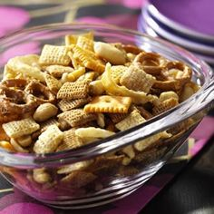 Steak House snack mix Looks good, but I'd bake it in the oven like chex mix (200 degrees for 1 hour, stir every 15 minutes), not microwave it.