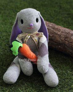 chaussette lapin feutre carotte